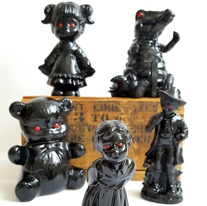 6_figurines_from_thrift_stores_painted_black_with_red_eyes_repurposed_upcycled_creepy_haunted_Halloween_decor_Sadie_Seasongoods